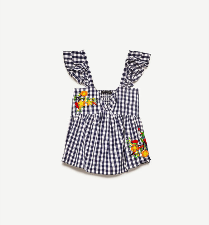 ZARA GINGHAM EMBROIDERED TOP