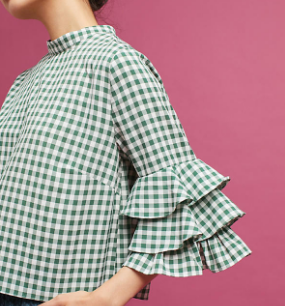 Anthropologie Ruffled Gingham Top
