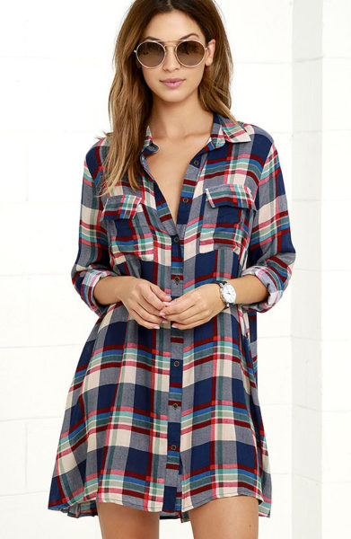 LULU'S FIRESIDE BY SIDE RED AND NAVY BLUE PLAID LONG SLEEVE DRESS