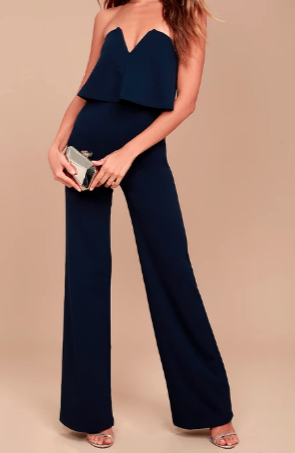 LULUS POWER OF LOVE NAVY BLUE STRAPLESS JUMPSUIT
