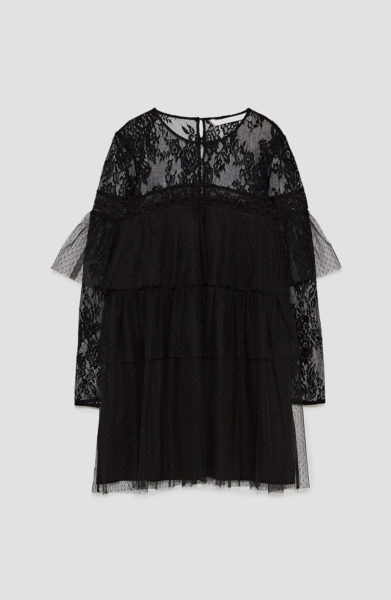 ZARA RUFFLED DOTTED MESH DRESS WITH LACE